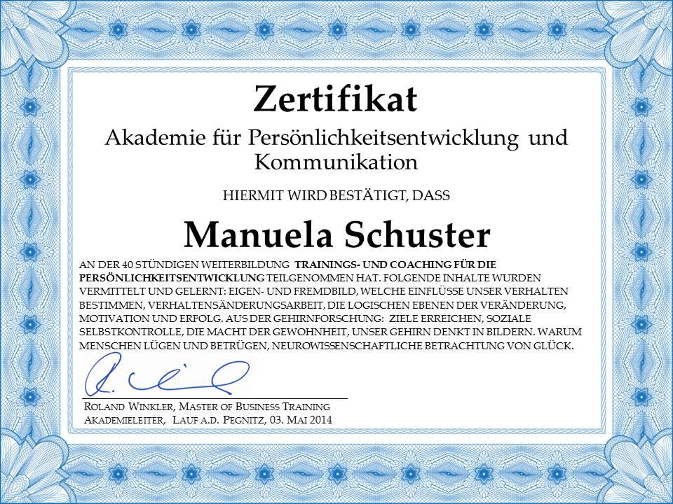 Zertifikat Persönlichkeitsentwicklung